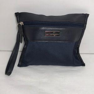 Viktor & Rolf Navy Blue Leather & Nylon Wristlet